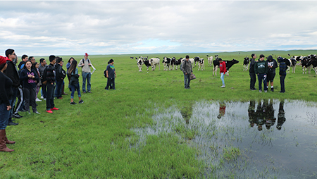 Students visiting UC Merced's Vernal Pools